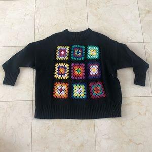 Zara NWOT Needlepoint Crochet Knitwear Sweater SzS